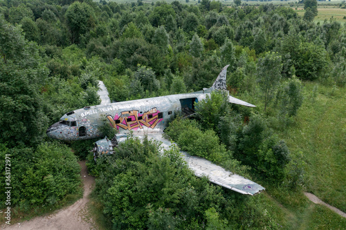 Photo Zeljava Air Base in Croatia and Abandoned Douglas C-47 Airplane on the airbase entrance