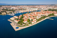 Aerial Shot Of Zadar Old Town, Famous Tourist Attraction In Croatia. Waterfront Aerial Summer View, Dalmatia Region Of Croatia.