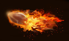 Rugby Ball With Bright Flame F...