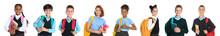 Children In School Uniforms On White Background. Banner Design