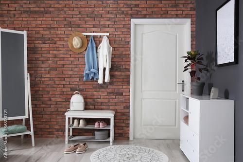 Fototapeta Modern hallway with stylish furniture. Interior design obraz
