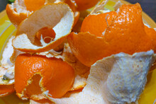 Peel From Tangerines On A Plate Close-up.