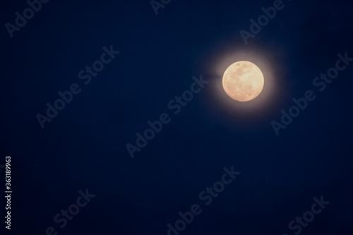 Moon in Night Sky Canvas Print
