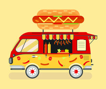 A Red-and-yellow Hot Dog Van, A Convenience Store On Wheels