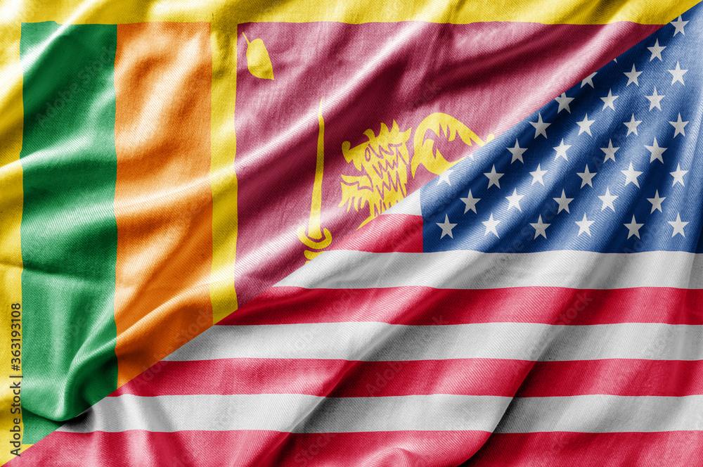 Fototapeta Mixed USA and Sri Lanka flag, three dimensional render
