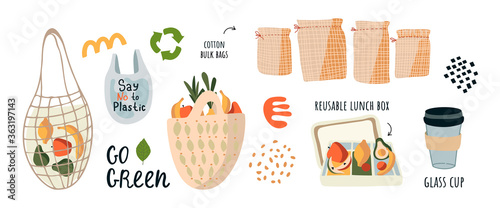 Fotografia, Obraz Go to zero waste, without the plastic slogan go green