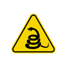 Rattlesnake Sign Isolated On White Background. Yellow Triangle Warning Symbol Simple, Flat Vector, Icon You Can Use Your Website Design, Mobile App Or Industrial Design. Vector Illustration