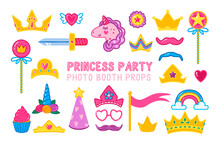 Collection Of Photo Booth Props For A Little Princess Party. Cute Cartoon Style Crowns, Magic Wands, Unicorn, And Other Accessories For Girls.