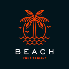 Vector Beach Logo With Palm Tree