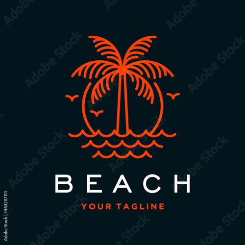 Fotografía vector beach logo with palm tree
