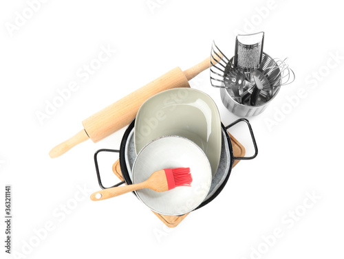 Cuadros en Lienzo Set of different cooking utensils and dishes on white background, top view