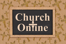Church Online Word Message On Chalkboard With Cross
