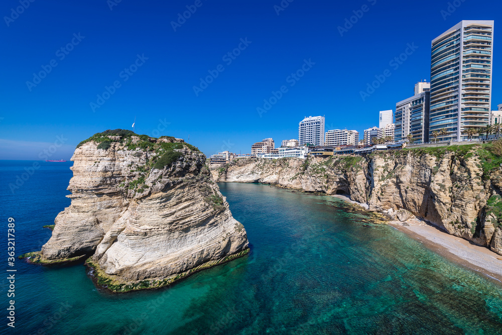 Fototapeta Raouche Rocks also called Pigeon Rock in Beirut, capital city of Lebanon