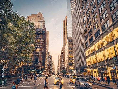 Panoramic View Of City Street And Buildings Fotobehang