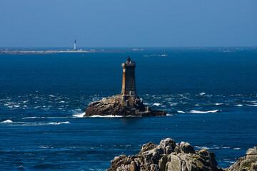francja , Bretania , sierpień 2014 , Point du Raz , latarnia morska oraz Ile de Sein