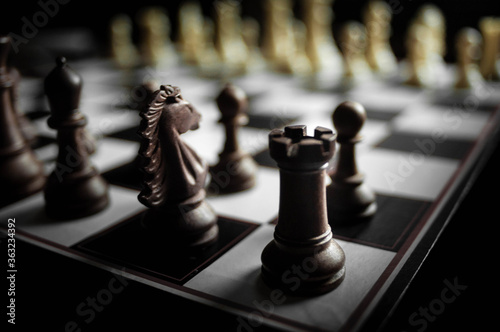 Billede på lærred Close-up Of Chess Pieces