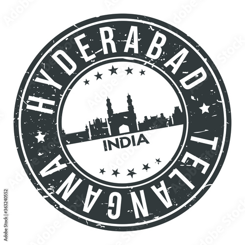 Hyderabad India Asia Stamp Logo Icon Skyline Silhouette Symbol Round Design Skyline City.  Fototapete
