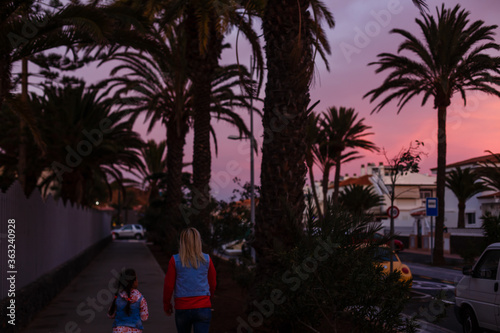 Fototapeta las galletas road, canary island of Tenerife at sunset obraz na płótnie