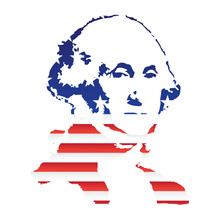Silhouette Of The American President Against The Background Of The Us Flag