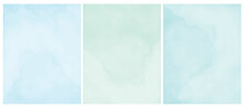Simple Pastel Color Grunge Vector Layouts. Pastel Blue, Mint Green And Light Turquoise Backgrounds. Delicate Watercolor Style Vector Blanks.