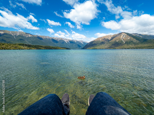 The view of Kerr Bay at Lake Rotoiti in Nelson Lakes National Park, New Zealand Wallpaper Mural