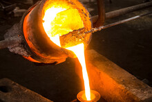 Large Bowl Of Molten Metal At A Steel Mill. Steel Production.