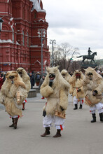 Moscow Maslenitsa Festival 2020. Traditional National Celebration In Folk Style. Slavic Tradition. Performance With Hungarian Masked Artists. Buso From Hungary. Busojaras Holiday In Moscow. Beast