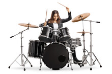 Young Female Drummer Playing D...