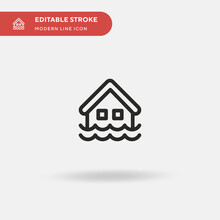 Flood Simple Vector Icon. Illu...