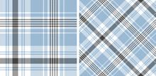 Blue Check Plaid Pattern Vector Set. Herringbone Seamless Textured Tartan Plaid For Flannel Shirt, Skirt, Duvet Cover, Throw, Tablecloth, Or Other Modern Textile Print.