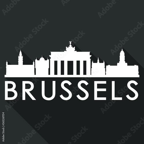 Brussels Flat Icon Skyline Silhouette Design City Vector Art Famous Buildings.