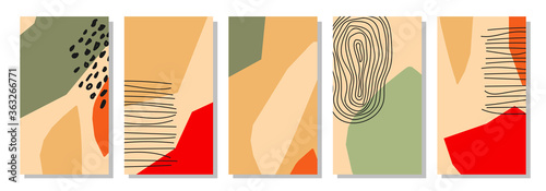 Tela Set of vertical abstract backgrounds or card templates in modern colors, vector
