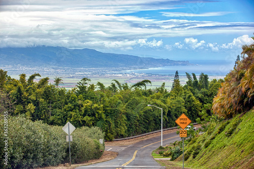 Kahului skyline from Up Country Wallpaper Mural