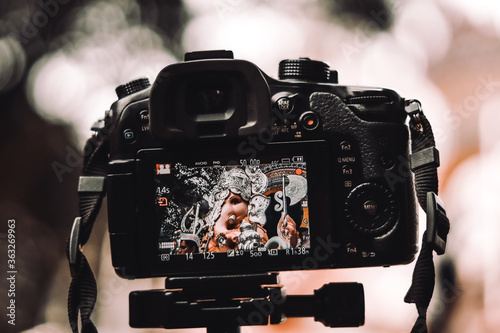 Close-up Of Camera Photographing Ganesha Canvas Print