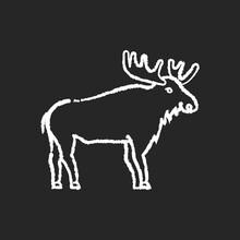 Elk Chalk White Icon On Black ...
