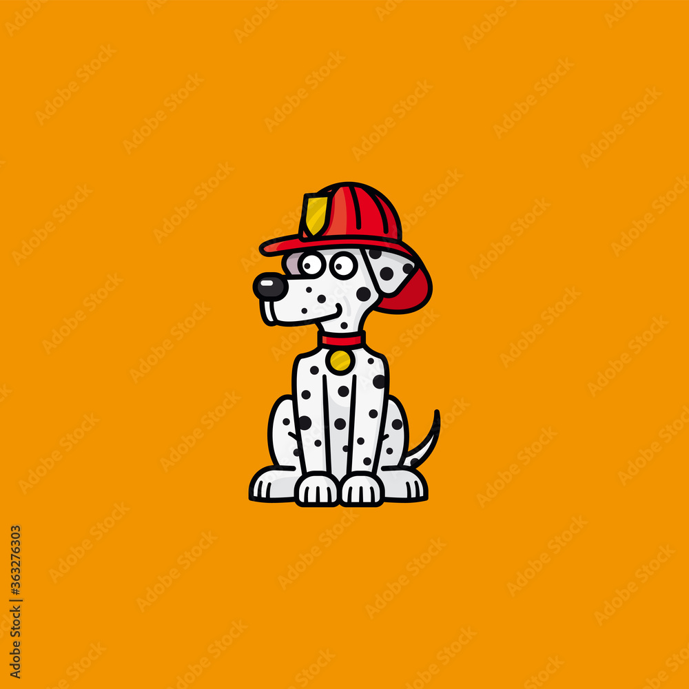 Fototapeta Firehouse Dalmatian dog cartoon character vector illustration  for Pet Fire Safety Day on July 15
