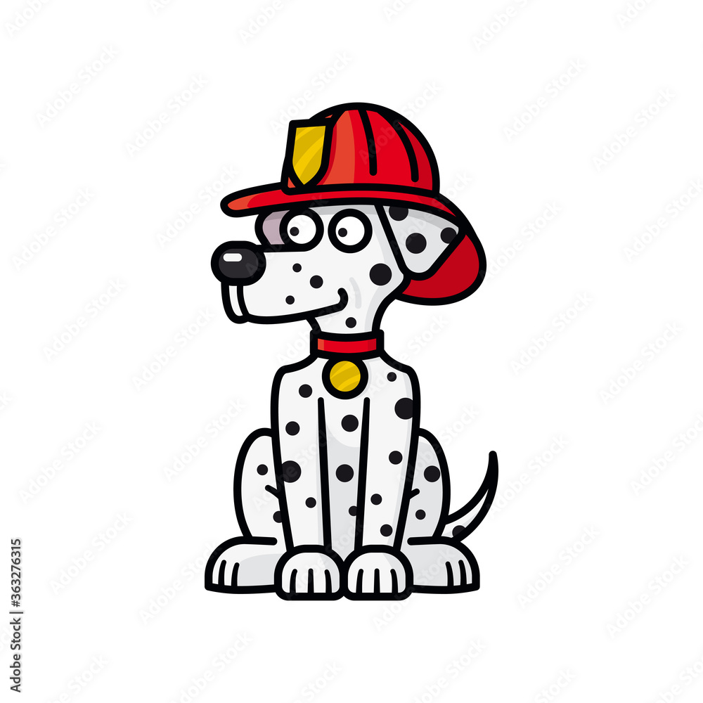 Fototapeta Firehouse Dalmatian dog cartoon character isolated vector illustration for Pet Fire Safety Day on July 15