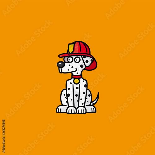 Fototapeta Firehouse Dalmatian dog cartoon character vector illustration  for Pet Fire Safety Day on July 15 obraz
