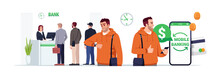 Mobile Banking Semi Flat RGB Color Vector Illustration. Man Use Mobile App For Ecommerce. People Wait In Queue To Reception. Bank Customer Isolated Cartoon Character On White Background