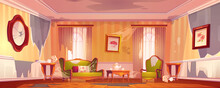 Old Dirty Victorian Living Room With Broken Furniture. Vector Cartoon Illustration Of Empty Abandoned Home Interior With Messy Couch And Wall, Torn Curtains, Crushed Mirror And Broken Wooden Floor