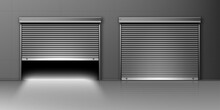 Garage Doors, Hangar Entrances With Roller Shutters. Warehouse Exterior With Close And Open Boxes, Realistic 3d Vector Storage For Car Parking Or Rent, Rooms For Repair Service With Metal Doorways