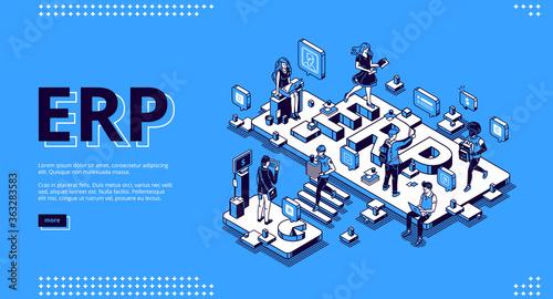 ERP, enterprise resource planning isometric landing page Canvas Print