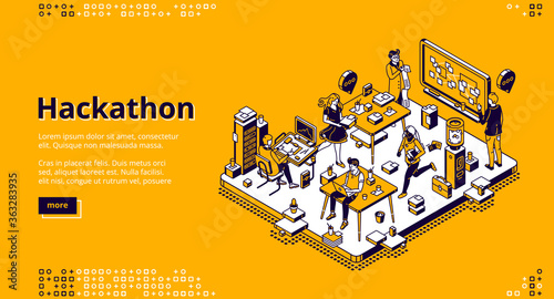 Fototapeta Hackathon isometric landing page. Team of computer programmers, project managers, graphic designers develop software, coding, create adaptive layout, work with data, 3d vector line art web banner obraz