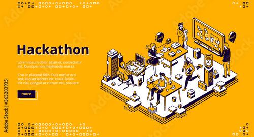 Hackathon isometric landing page Canvas