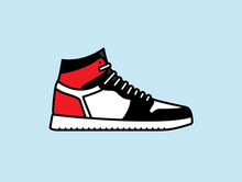 2D Colour Vector Illustration Of A High-top Shoe, Reminiscent Of Classic Styles Such As Nike Air Force 1 High, Jordan 1, Adidas Top Ten Hi, Vans SK8-Hi.