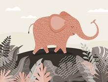 Cute Elephant Cartoon Between ...