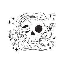 Magic Skull With Snake Vector ...