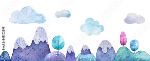 Akwarela ilustracja krajobraz górski na białym tle. Tło karty dla dzieci
