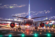 View Of Airplane Against Sky At Night