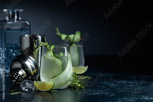 Fototapeta Gin tonic with rosemary, lime and cucumber in frosted glass.